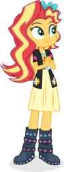 Size: 1257x3359 | Tagged: artist:punzil504, clothes, cute, cutie mark on clothes, equestria girls, female, filly, filly sunset, freshman, high res, safe, shimmerbetes, simple background, solo, sunset shimmer, transparent background, younger, younger sunset