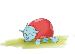 Size: 1400x1000 | Tagged: artist:zouyugi, changedling, changeling, cute, diaocelles, eyes closed, female, ladybug, ocellus, safe, simple background, smiling, solo, species swap
