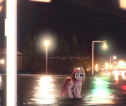Size: 1500x1270 | Tagged: alternate hairstyle, artist:mirroredsea, blushing, cute, cuteamena, diapinkes, earth pony, edit, female, house, lamppost, looking at you, mare, night, pinkamena diane pie, pinkie pie, pony, question, question mark, road, safe, short mane, sky, solo, stars, street, text, text edit, traffic light, worried