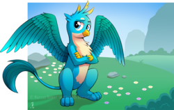 Size: 3255x2052   Tagged: safe, artist:spritedude, gallus, griffon, season 8, chest fluff, claws, crossed arms, looking at you, male, paws, smiling, solo, spread wings, tail, wings