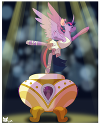 Size: 1200x1500 | Tagged: alicorn, a royal problem, artist:cckittycreative, ballerina, ballet, clothes, eyes closed, female, mare, music box, pony, safe, scene interpretation, solo, tutu, twilarina, twilight sparkle, twilight sparkle (alicorn), underhoof