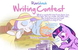 Size: 1048x673 | Tagged: safe, artist:raridashdoodles, rainbow dash, rarity, twilight sparkle, alicorn, pony, alternate clothes, blushing, female, hat, lesbian, paper, raridash, raridash writing contest, shipper on deck, shipping, top hat, twilight sparkle (alicorn), typewriter