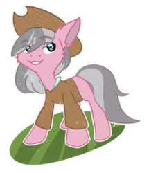 Size: 1200x1300 | Tagged: artist:urpone, blue eyes, clothes, ear fluff, earth pony, female, floppy ears, gray mane, happy, hat, looking up, mare, missing cutie mark, pony, safe, smiling, solo, wrangler