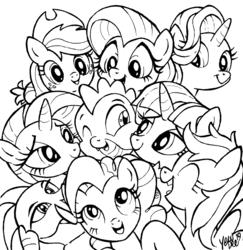 Size: 1558x1600 | Tagged: safe, artist:yewdee, applejack, fluttershy, pinkie pie, princess ember, rainbow dash, rarity, spike, starlight glimmer, twilight sparkle, alicorn, dragon, earth pony, pegasus, pony, unicorn, applespike, cuddle puddle, cuddling, cute, emberbetes, emberspike, female, flutterspike, hug, lineart, lucky bastard, male, mane eight, mane seven, mane six, monochrome, pinkiespike, pony pile, rainbowspike, shipping, sparity, sparlight, spike gets all the mares, spikelove, straight, twispike