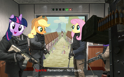 Size: 500x312 | Tagged: applejack, artist needed, call of duty, call of duty: modern warfare 2, dialogue, earth pony, elevator, equine, female, fluttershy, gun, hat, horn, human, humanized, meme, no russian, pegasus, pony, safe, smiling, town, twilight sparkle, unicorn, weapon, wings