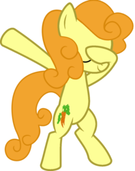 Size: 813x1024 | Tagged: artist:acewissle, artist:uigsyvigvusy, bipedal, carrot top, dab, earth pony, eyes closed, female, golden harvest, pony, safe, simple background, solo, trace, transparent background, vector