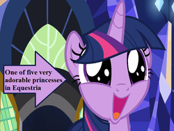 Size: 720x540 | Tagged: arrow, captain obvious, cute, edit, edited screencap, faic, happy, part of a set, safe, screencap, shadow play, text, twiabetes, twilight's castle, twilight sparkle