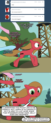 Size: 821x1954 | Tagged: artist:loceri, ask, ask pun, earth pony, female, hooves, mare, oc, oc:pun, personal space invasion, pony, running, safe