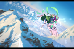 Size: 2100x1400 | Tagged: anthro, artist:joan-grace, clothes, female, flying, mare, mountain, princess cadance, safe, scenery, solo, unguligrade anthro