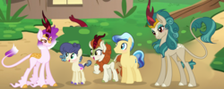 Size: 4645x1849 | Tagged: artist:xxcutecookieswirlsxx, autumn blaze, earth pony, female, ivory, ivory rook, kirin, male, mare, oc, pony, rain shine, safe, spoiler:s08e23, stallion