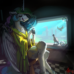 Size: 4000x4000 | Tagged: alicorn, artist:alumx, bird, clothes, crossed hooves, female, mare, morning ponies, pony, princess celestia, robe, safe, solo, window
