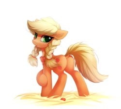 Size: 2139x1919   Tagged: safe, artist:breakdream, applejack, earth pony, pony, alternate hairstyle, applebutt, braid, cute, dock, female, freckles, hatless, jackabetes, looking back, mare, missing accessory, mouth hold, plot, simple background, solo, twin braids