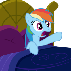 Size: 2000x2000 | Tagged: artist:veyronraze, bed, female, hooves, mare, open mouth, pillow, pony, rainbow dash, safe, solo, vector