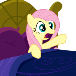 Size: 2000x2000 | Tagged: artist:veyronraze, bed, female, fluttershy, hooves, mare, open mouth, pillow, pony, safe, solo, vector