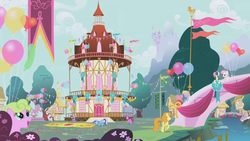 Size: 1280x720 | Tagged: safe, screencap, berry punch, berryshine, bon bon, carrot top, cloud kicker, daisy, flower wishes, golden harvest, minuette, rarity, spike, sweetie drops, twilight sparkle, twinkleshine, pony, applebuck season, balloon, bridge, canterlot, ponyville, ponyville town hall, river