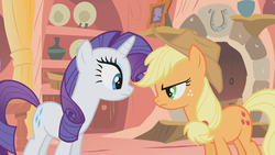 Size: 1280x720 | Tagged: applejack, fireplace, golden oaks library, look before you sleep, pony, rarity, safe, screencap