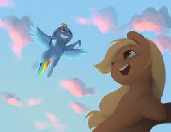 Size: 2592x1998   Tagged: safe, artist:katputze, applejack, rainbow dash, earth pony, pegasus, pony, cloud, duo, female, flying, mare, sky, smiling