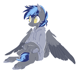 Size: 1359x1322 | Tagged: artist:amphoera, clothes, oc, oc:rainy days, pegasus, pony, safe, sweater