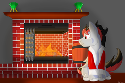 Size: 3000x1988 | Tagged: artist:leadthepone, clothes, dracony, fireplace, gem, hybrid, male, oc, oc:broken flare, oc only, red and black oc, room, safe