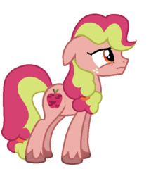 Size: 484x564   Tagged: safe, artist:bolivianite, oc, oc:fudji party, pony, androgynous, freckles, magical lesbian spawn, offspring, parent:applejack, parent:pinkie pie, parents:applepie, simple background, solo, unshorn fetlocks, white background