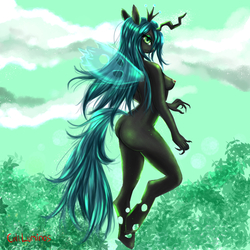 Size: 4000x4000   Tagged: questionable, artist:cali luminos, queen chrysalis, changeling, changeling queen, anthro, unguligrade anthro, ass, breasts, chrysalislover, female, lewd, nipples, nudity, sexy, signature, solo, solo female