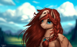 Size: 3116x1924 | Tagged: artist:l1nkoln, cloud, ear piercing, earring, female, jewelry, mare, necklace, oc, oc:ondrea, oc only, pegasus, piercing, pony, safe, solo