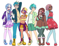 Size: 3300x2550 | Tagged: artist:sammikuma, belly button, blushing, boots, cardigan, cellphone, choker, clothes, converse, dark skin, dress, female, flats, gallus, hoodie, human, humanized, jeans, jewelry, male, midriff, necklace, ocellus, pants, phone, safe, sandbar, shoes, shorts, silverstream, simple background, skirt, smolder, sneakers, socks, stockings, student six, thigh highs, transparent background, yona, zettai ryouiki