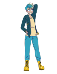 Size: 2550x3300 | Tagged: artist:sammikuma, boots, clothes, gallus, human, humanized, jacket, male, pants, safe, shoes, smiling, solo