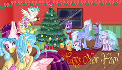 Size: 6776x3904 | Tagged: artist:keeka-snake, christmas, christmas tree, cousins, father and daughter, father and son, female, haven bay, hippogriff, holiday, male, mother and daughter, mother and son, my little pony: the movie, ocean flow, present, princess skystar, queen novo, safe, salina blue, seaspray, silverstream, sky beak, snow, spoiler:my little pony movie, terramar, tree, window