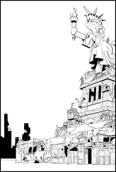 Size: 2016x2975 | Tagged: safe, artist:php104, pony, fallout equestria, city, fanfic art, friendship city, lineart, monochrome, ponified, ruins, statue of liberty, wagon, windmill, wip