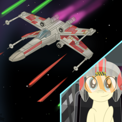 Size: 2500x2500 | Tagged: artist:pizzamovies, cockpit, derpibooru exclusive, laser, male, oc, oc only, oc:pizzamovies, pony, rebellion, safe, smiling, solo, space, spaceship, starfighter, stars, star wars, window, x-wing