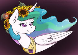 Size: 1280x912 | Tagged: safe, artist:cadetredshirt, princess celestia, alicorn, pony, bust, commission, cute, cutelestia, digital art, ear fluff, ethereal mane, eyes open, female, flower, flower in hair, folded wings, gradient background, horn, jewelry, lidded eyes, long mane, looking up, mare, missing accessory, on side, patreon, patreon logo, patreon preview, patreon reward, peytral, regalia, relaxed, signature, simple background, smiling, solo, sparkles, sunflower, wings
