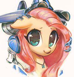 Size: 1200x1261 | Tagged: safe, artist:mirroredsea, fluttershy, pony, cute, female, headphones, jewelry, looking at you, mare, mecha, necklace, shyabetes, simple background, smiling, white background