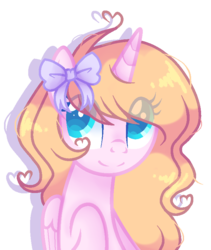 Size: 680x807 | Tagged: alicorn, alicorn oc, artist:poppyglowest, base used, bow, bust, eye clipping through hair, female, hair bow, mare, oc, oc only, pony, portrait, safe, simple background, solo, transparent background