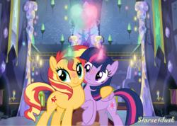 Size: 3360x2396 | Tagged: dead source, safe, artist:starsetdusk15, sunset shimmer, twilight sparkle, alicorn, pony, unicorn, blushing, cuddling, cute, female, heart, lesbian, magic, mare, raised hoof, shimmerbetes, shipping, sunsetsparkle, twiabetes, twilight sparkle (alicorn)