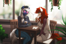 Size: 1700x1153 | Tagged: safe, artist:margony, oc, oc only, bat pony, pegasus, anthro, bat pony oc, cafe, chair, clothes, coffee, cup, drinking, glasses, looking at you, morning ponies, pants, sitting, straw, table