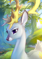 Size: 1060x1500   Tagged: safe, artist:tomatocoup, princess celestia, deer, antlers, butt fluff, colored pupils, crepuscular rays, cute, cutelestia, deerified, doe, ear fluff, female, fluffy, forest, nature, neck fluff, shoulder fluff, solo, species swap, tail fluff