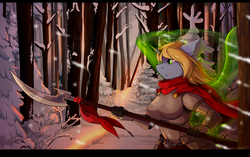 Size: 3900x2445 | Tagged: anthro, anthro oc, artist:hakkids2, clothes, female, oc, oc:art's desire, oc only, safe, snow, solo, tree, weapon