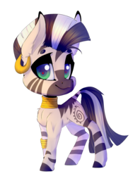 Size: 1371x1735 | Tagged: artist:creepyfreddy, artist:soundwavepie, beanbrows, chest fluff, cute, ear fluff, ear piercing, eyebrows, female, jewelry, leonine tail, mare, piercing, safe, simple background, solo, transparent background, zebra, zecora, zecorable
