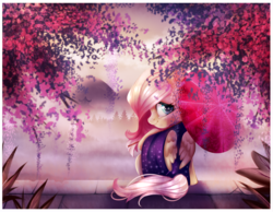 Size: 900x697 | Tagged: artist:naughty-savage, clothes, fluttershy, kimono (clothing), looking at you, looking back, looking back at you, mountain, safe, sitting, smiling, solo, tree, umbrella