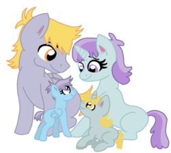 Size: 607x545 | Tagged: artist:dexterousdecarius, base used, blank flank, crackle pop, family, father and children, father and daughter, female, male, missing cutie mark, mother and child, mother and children, mother and daughter, oc, oc:bubbles, oc:taffy, offspring, older, older crackle pop, older tootsie flute, parent:crackle pop, parents:tootsiepop, parent:tootsie flute, pony, safe, shipping, simple background, sisters, straight, tootsie flute, tootsiepop, transparent background, twins