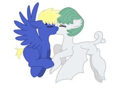 Size: 655x468 | Tagged: artist:dexterousdecarius, base used, dracony, female, flying, heartwarming, hybrid, interspecies offspring, kissing, male, mid-flight, oc, oc:flash hunter, oc:hunter, oc:jade, oc only, oc x oc, offspring, offspring shipping, parent:flash sentry, parent:rarity, parents:flashlight, parent:spike, parents:sparity, parent:twilight sparkle, safe, shipping, simple background, straight, transparent background