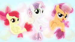 Size: 1600x900 | Tagged: apple bloom, artist:jhayarr23, artist:sailortrekkie92, cutie mark crusaders, edit, female, filly, fins, fin wings, safe, scootaloo, sea-mcs, sea ponies, seaponified, sea pony, seapony apple bloom, seapony (g4), seapony scootaloo, seapony sweetie belle, species swap, surf and/or turf, sweetie belle, wallpaper, wallpaper edit