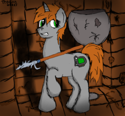 Size: 2250x2100   Tagged: safe, artist:terminalhash, oc, oc only, oc:littlepip, pony, unicorn, fallout equestria, cutie mark, fallout, fallout 2, fanfic, fanfic art, female, gritted teeth, hooves, horn, mare, raised hoof, solo, spear, weapon