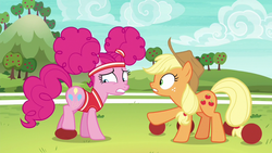 Size: 1280x720 | Tagged: applejack, buckball, buckball season, pinkie pie, pinktails pie, pony, safe, screencap