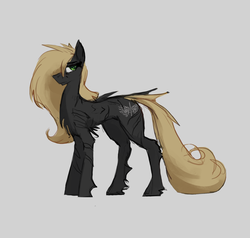 Size: 1134x1080 | Tagged: artist:nsilverdraws, female, fluffy, green eyes, horse, long mane, long tail, mare, oc, oc only, oc:veen sundown, one winged pegasus, pegasus, safe, scar, simple background, solo