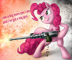 Size: 900x759 | Tagged: safe, artist:rule1of1coldfire, edit, pinkie pie, browning m2, female, gun, lyrics, machine gun, nine inch nails, shooting, solo, song reference, text, text edit, weapon, who needs trigger fingers