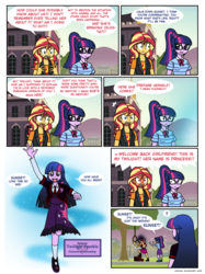 Size: 842x1128 | Tagged: safe, artist:crydius, sci-twi, sunset shimmer, twilight sparkle, alicorn, comic:meet the princesses, equestria girls, equestria girls series, attempted suicide, bow, bowtie, building, canterlot high, clothes, comic, confused, cutie mark, cutie mark on clothes, day, determined, dialogue, dress, elements of harmony, embarrassed, emblem, epic fail, exclamation point, fail, fear, female, freudian slip, frown, giving up, glasses, grass, grass field, hairpin, hanging, hanging (by neck), happy, holding, jacket, leather boots, leather jacket, leather shoes, leather vest, lesbian, lights, mountain, necktie, nervous, noose, open mouth, outdoors, panic, ponytail, portal, princess of friendship, principal twilight, question mark, ramp, rope, running, school, school of friendship, scitwishimmer, self paradox, self ponidox, shield, shipping, shirt, shoes, skirt, sky, smiling, socks, speech bubble, street lamp, sunsetsparkle, sweat, sweating profusely, symbol, t-shirt, talking, teeth, text, tree, trio, tripping over words, twilight sparkle (alicorn), twolight, wall of tags, waving, window, yelling