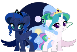 Size: 7250x4900 | Tagged: absurd res, alicorn, artist:feekteev, duo, female, mare, moon, pony, princess celestia, princess luna, royal sisters, safe, siblings, sisters, sun