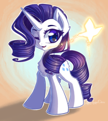 Size: 2686x3000 | Tagged: artist:chaosangeldesu, butterfly, female, mare, one eye closed, pony, rarity, safe, signature, solo, unicorn, wink